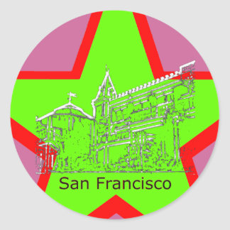 San Francisco 1986 art The MUSEUM Zazzle Drawing Round Stickers