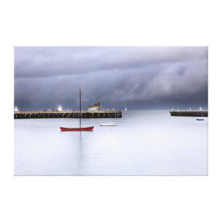 San Francisco Bay and Boat Stretched Canvas Print