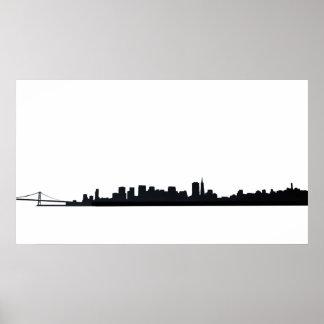San Francisco & Bay Bridge Silhouette Poster