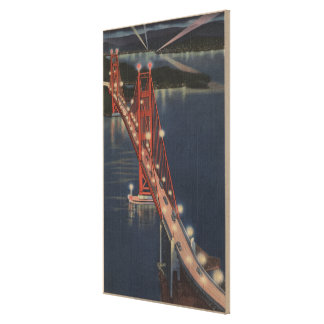 San Francisco, CA - Night View of Golden Gate Canvas Print