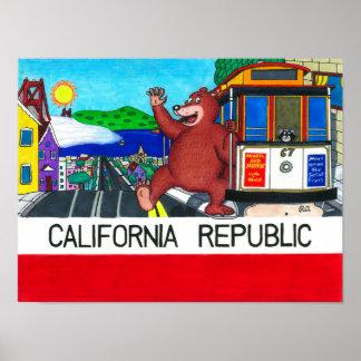 San Francisco California Bear Flag Posters