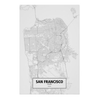 San Francisco, California (black on white) Poster