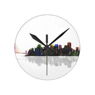 San Francisco California Skyline Round Clock