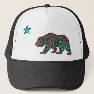 San Francisco California teal bear art hat
