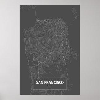 San Francisco, California (white on black) Poster