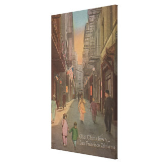 San Francisco, CAView of Old Chinatown Street Canvas Print