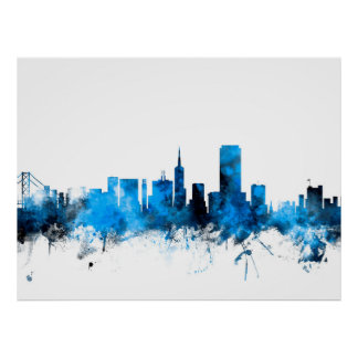 San Francisco City Skyline Poster