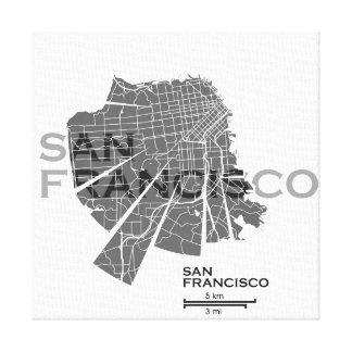 San Francisco Map Canvas Stretched Canvas Print