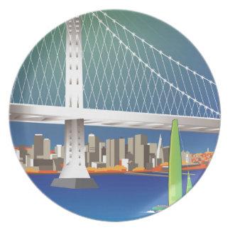San Francisco New Oakland Bay Bridge Cityscape Plate