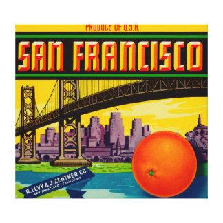 San Francisco Orange Label Canvas Print