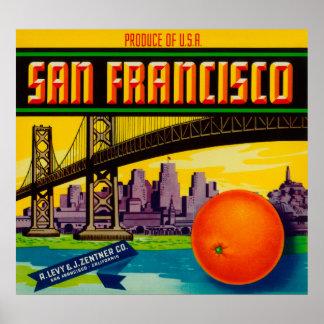 San Francisco Orange Label Print