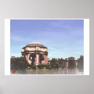 San Francisco-Palace Fine Arts Digital Watercolor Poster