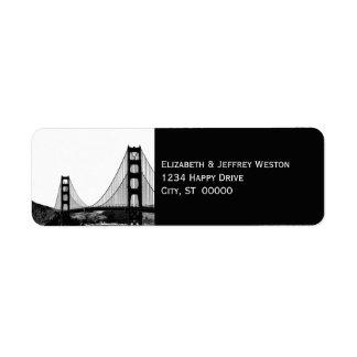 San Francisco Skyline Etched Look Address Label