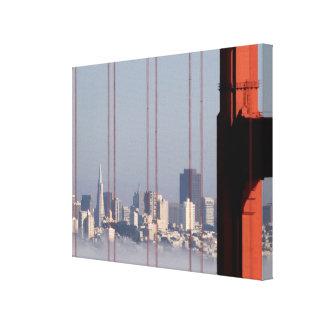 San Francisco Skyline from Golden Gate Bridge. Gallery Wrap Canvas