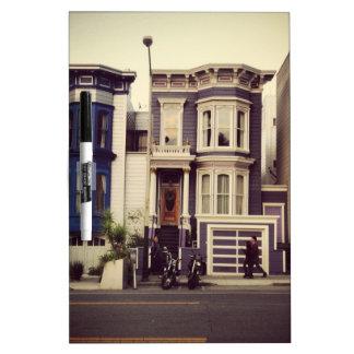 San Francisco Unique Blue and Purple Houses Dry Erase Board