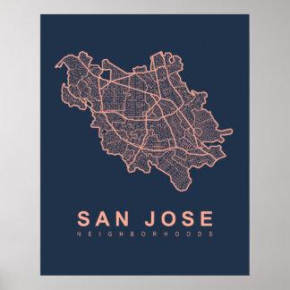 San Jose Neighborhoods Map Poster