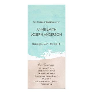 Sand and sea wedding program rack card