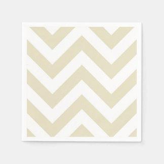 Sand Beige White Large Chevron ZigZag Pattern Paper Napkins