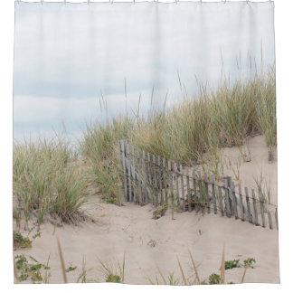 Sand dunes and beach fence shower curtain