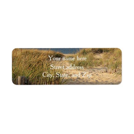 Sand dunes and beach return address label