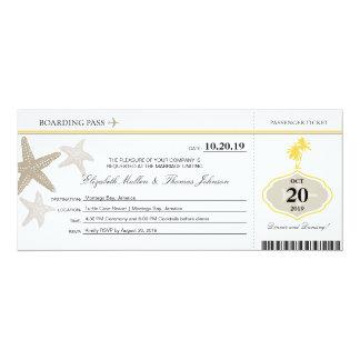 Sand Starfish Buttercream Palm Tree Boarding Pass 10 Cm X 24 Cm Invitation Card