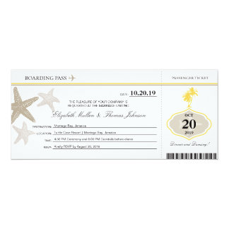 Sand Starfish Buttercream Palm Tree Boarding Pass Card
