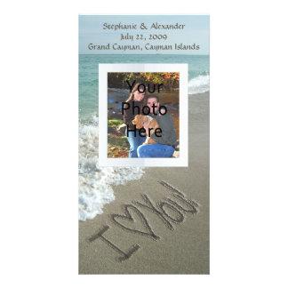 Sand Writing on the Beach I Love You Photo Card