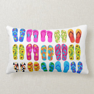 Sandals Colorful Fun Beach Theme Summer Lumbar Cushion