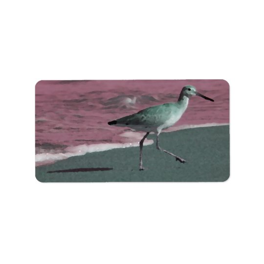 sandpiper abstract red green on beach label