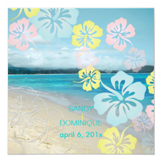 Sandy beach/hibiscus destination wedding 13 cm x 13 cm square invitation card