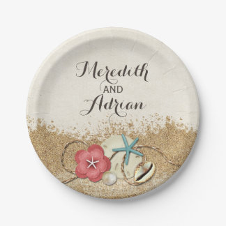 Sandy Beach Hibiscus & Shells Wedding Personalized 7 Inch Paper Plate