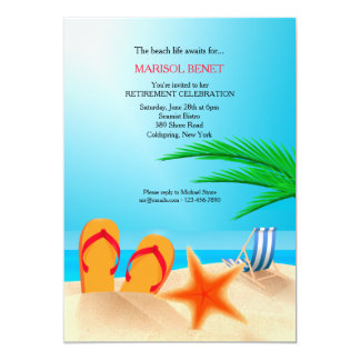 Sandy Beach Retirement Party Invitation