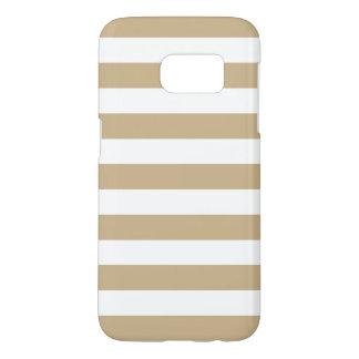 Sandy Brown Galaxy S7 Cases - Nautical Stripe