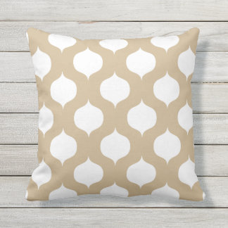 Sandy Brown Moroccan Pattern Outdoor Pillows