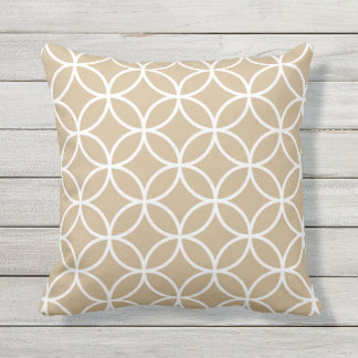 Sandy Brown Outdoor Pillows - Circle Trellis