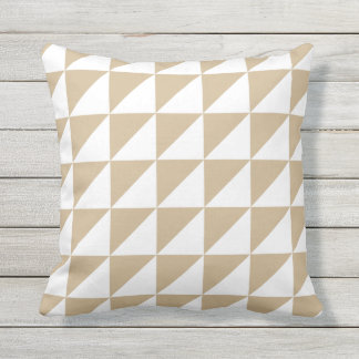 Sandy Brown Outdoor Pillows - Triangle Pattern