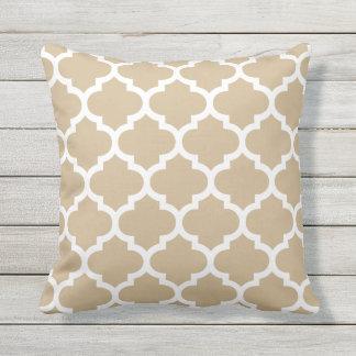 Sandy Brown Quatrefoil Pattern Outdoor Pillows