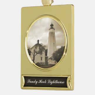 Sandy Hook Lighthouse Gold Plated Banner Ornament