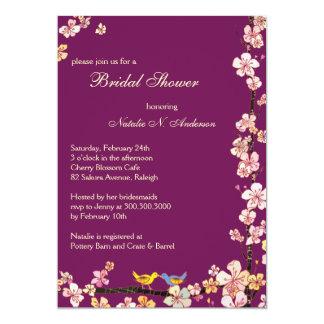 Sangria Love Birds Floral Bridal Shower 13 Cm X 18 Cm Invitation Card
