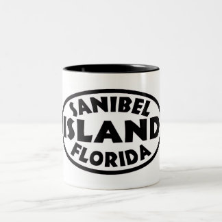 Sanibel Island Florida black oval Two-Tone Coffee Mug