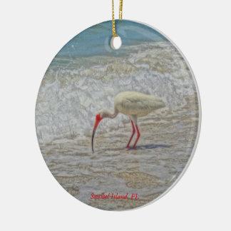 Sanibel Island Florida White Ibis Tropical Bird Christmas Ornament