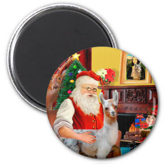 Santa and his Baby Llama 6 Cm Round Magnet