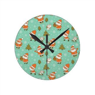 Santa and Teddy Bear Christmas Pattern. Clock