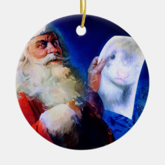 Santa and the Ferret Round Ceramic Decoration