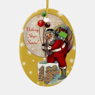 Santa and the Narrow Chimney Christmas Ornament