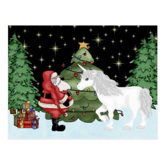 Santa and Unicorn Magical Christmas Holiday Postcard