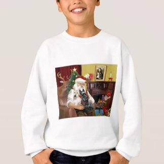 Santa At Home - Scottish Terriers (two) - Santa Sweatshirt
