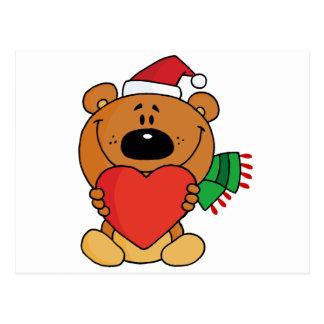 Santa Bear with Heart Postcard
