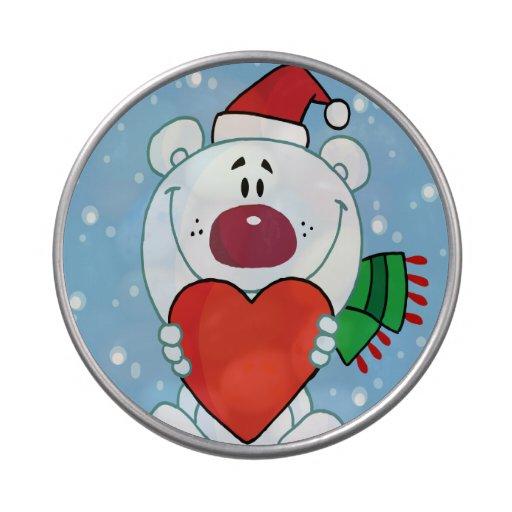 Santa Bear with Heart Candy Tin