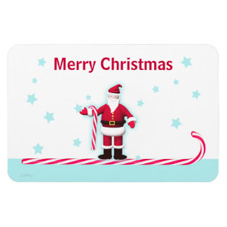 Santa Candy Cane and Stars Christmas Magnet